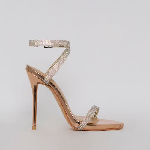 Savannah Rose Gold Clear Diamante Heels