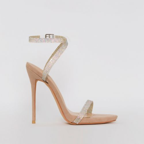 Savannah Nude Suede Clear Diamante Heels