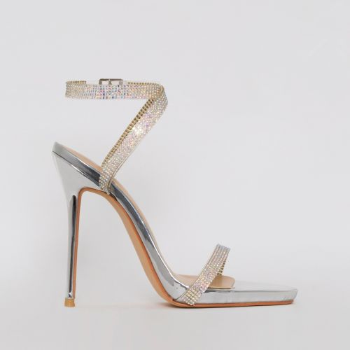 Savannah Silver Clear Diamante Heels