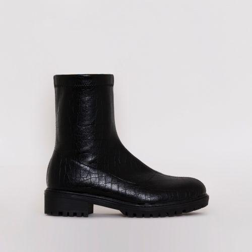 Jax Black Croc Flat Ankle Boots