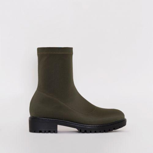 Jax Khaki Lycra Flat Ankle Boots