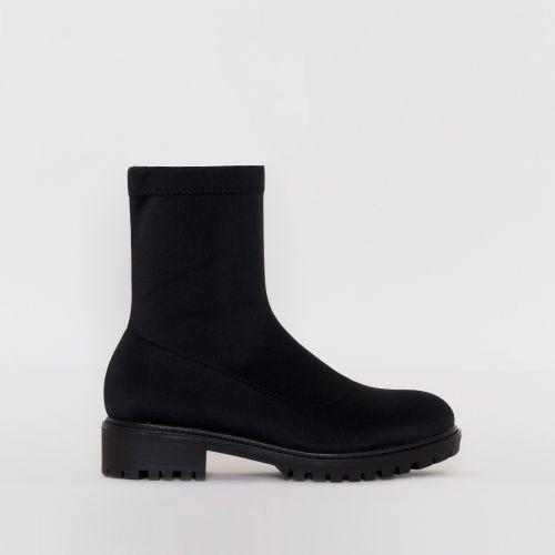 Jax Black Lycra Flat Ankle Boots
