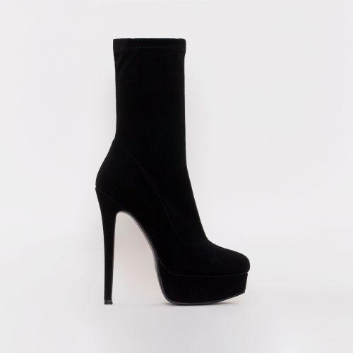 Skyla Black Suede Platform Ankle Boots