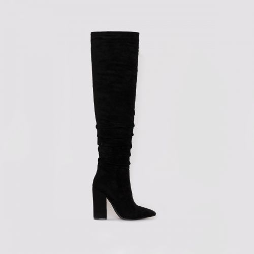 Eden Black Suede Ruched Block Heel Thigh High Boots