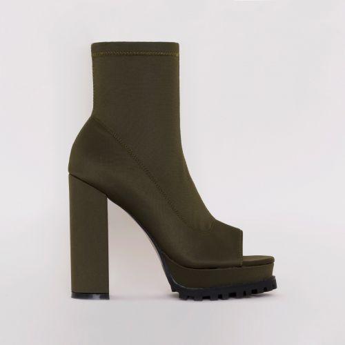 Lila Khaki Lycra Peep Toe Platform Boots