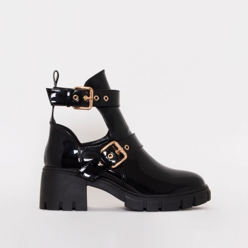 Zelda Black Patent Cut Out Chunky Ankle Boots