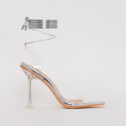Lenor Silver Mirror Tie Up Heels