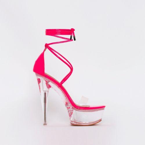 Destiny Hot Pink Patent Clear Platform Heels