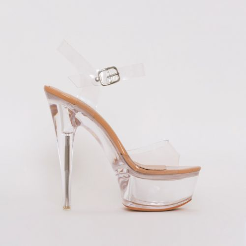 Remy Nude Patent Clear Platform Heels