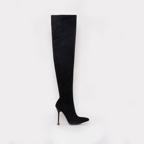 Willow Black Suede Thigh High Stiletto Boots