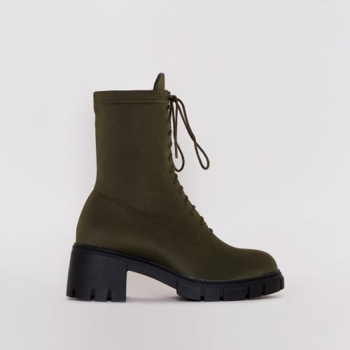 Briana Khaki Lycra Lace Up Ankle Boots
