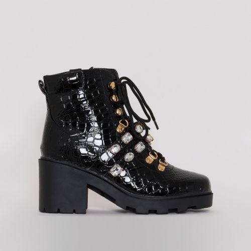 Jena Black Patent Croc Print Jewel Ankle Boots