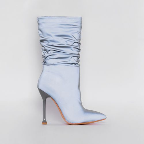 Mandy Grey Reflective Ruched Calf Stiletto Boots