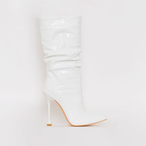 Mandy White Croc Print Ruched Calf Stiletto Boots