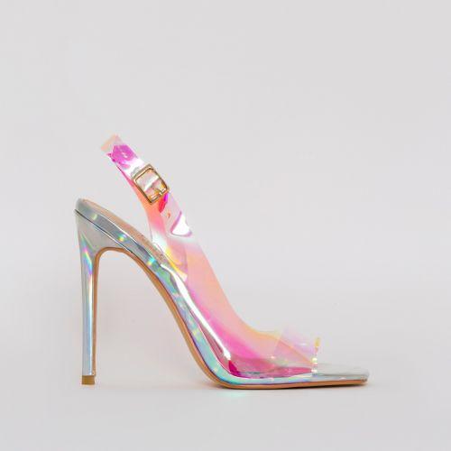 Audrina Silver Iridescent Slingback Heels