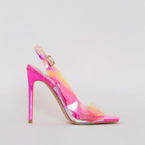 Audrina Pink Iridescent Slingback Heels