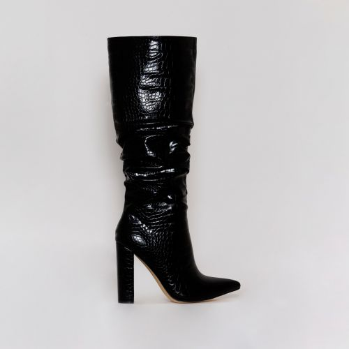 Dakota Black Croc Ruched Knee Boots