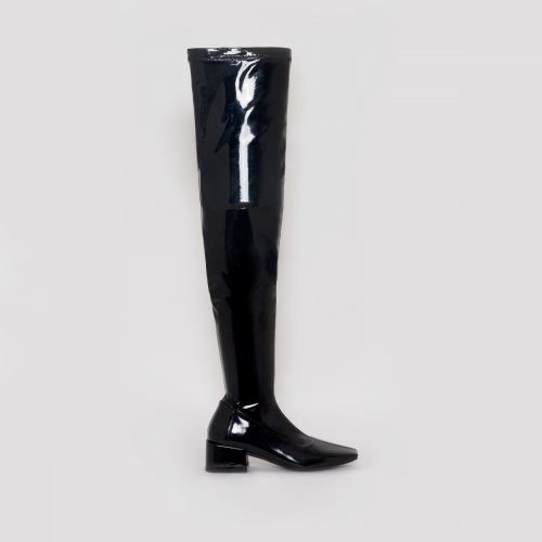 Henrietta Black Patent Flat Thigh High Boots