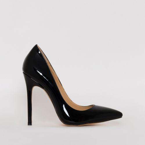 Mila Black Patent Stiletto Court Shoes