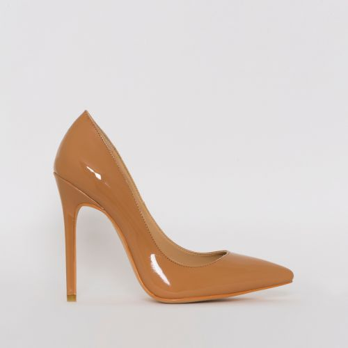 Mila Mid Nude Patent Stiletto Court Shoes