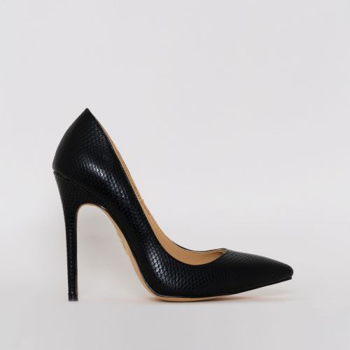 Mila Black Snake Print Stiletto Court Shoes