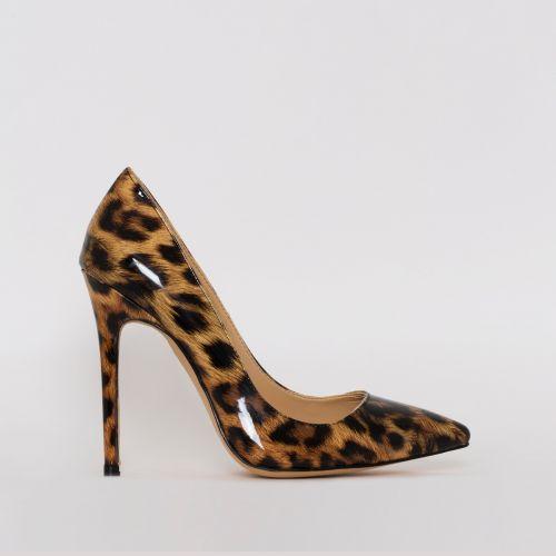 Mila Leopard Patent Print Stiletto Court Shoes