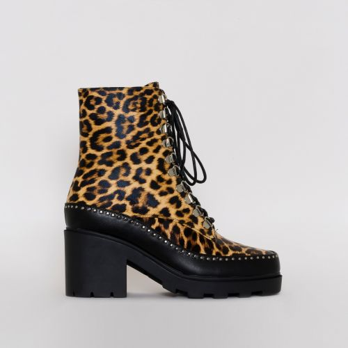 Sonia Leopard Print Lace Up Ankle Boots