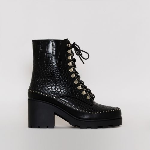 Sonia Black Croc Print Lace Up Ankle Boots