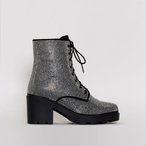 Kayla Black Silver Diamante Lace Up Ankle Boots
