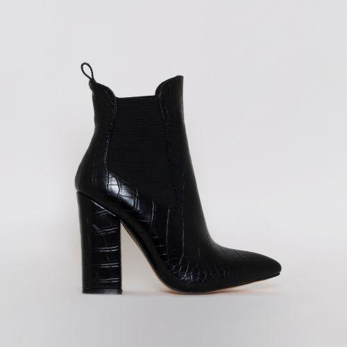 Harnam Black Croc Print Block Heel Ankle Boots