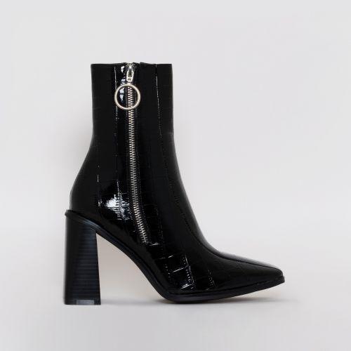 Ally Black Patent Croc Print Zip Block Heel Ankle Boots