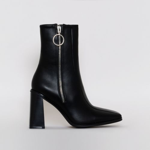 Ally Black Zip Block Heel Ankle Boots