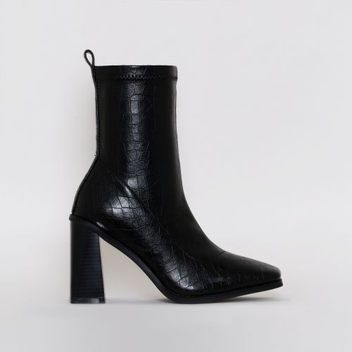 Ariel Black Patent Croc Print Block Heel Ankle Boots