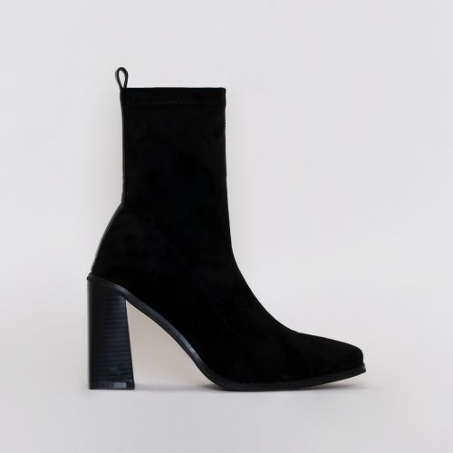 Ariel Black Suede Block Heel Ankle Boots