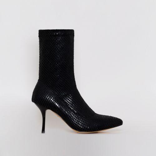 Lauren Black Snake Print Mid Heel Ankle Boots