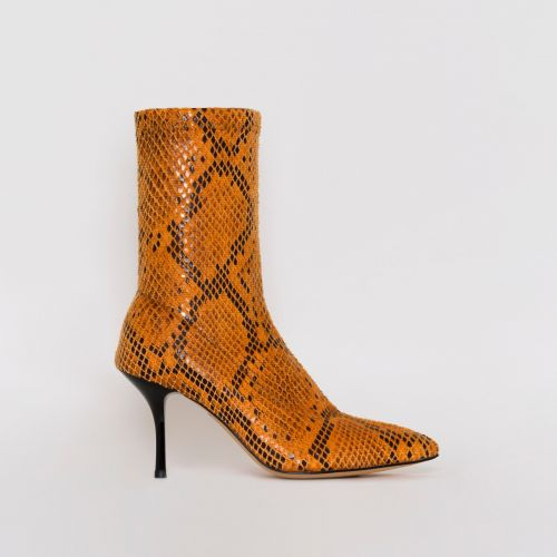 Lauren Orange Snake Print Mid Heel Ankle Boots