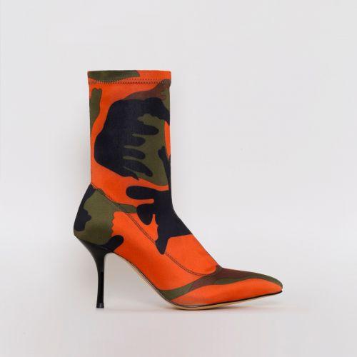 Lauren Green Camo Lycra Mid Heel Ankle Boots