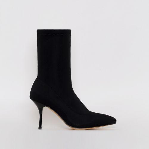 Lauren Black Lycra Mid Heel Ankle Boots