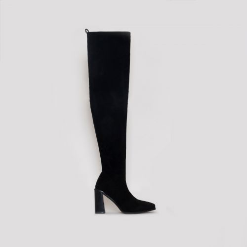 Kyomi Black Suede Block Heel Thigh High Boots