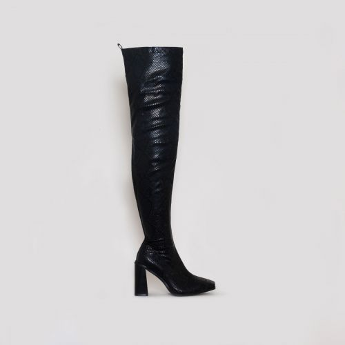 Kyomi Black Snake Print Block Heel Thigh High Boots