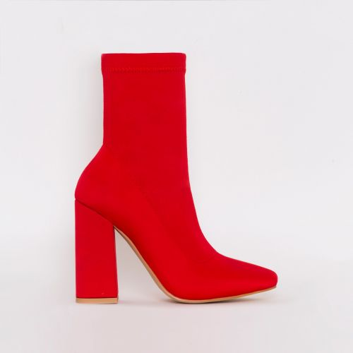 Carina Red Lycra Block Heel Ankle Boots