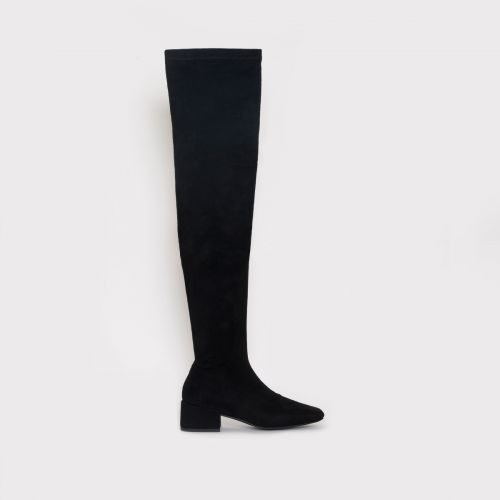 Henrietta Black Suede Flat Thigh High Boots