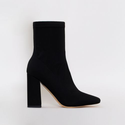 Carina Black Lycra Block Heel Ankle Boots