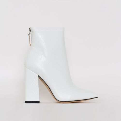 Montana White Snake Print Block Heel Ankle Boots
