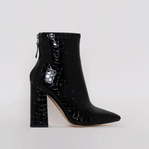 Montana Black Patent Croc Print Block Heel Ankle Boots