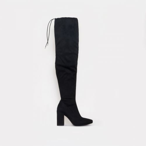 Mirisa Black Suede Block Heel Thigh High Boots