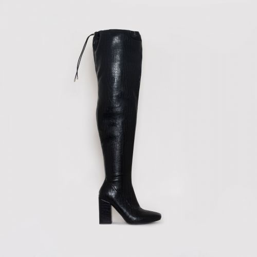 Mirisa Black Croc Print Block Heel Thigh High Boots