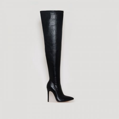 Isabel Black Croc Print Thigh High Stiletto Boots