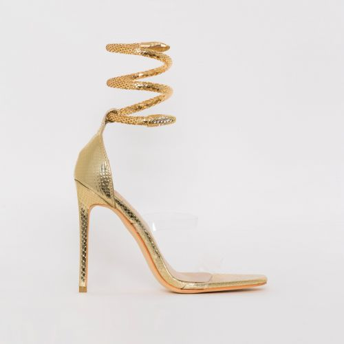 Medusa Light Gold Snake Print Cuff Stiletto Heels