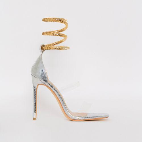 Medusa Silver Snake Print Cuff Stiletto Heels